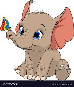 Funny kid elephant vector image on VectorStock Cartoon Elephant, Elephant Art, Cute Elephant, Baby Elephant Drawing, Baby Animal Drawings, Cute Drawings, Elephant Illustration, Cute Illustration, Cartoon Pics
