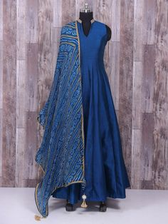 Raw silk plain blue anarkali suit - G3-WSS25359 | G3fashion.com
