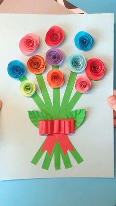 Diy Crafts For Girls, Animal Crafts For Kids, Crafts For Seniors, Spring Crafts For Kids, Summer Crafts, Paper Flowers Craft, Flower Crafts, Construction Paper Crafts, Mothers Day Crafts