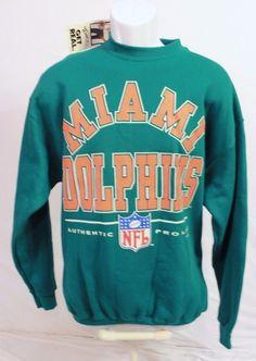 928aa57fb VTG Miami Dolphins Sweatshirt Aqua NFL Sz L Logo Athletic Crewneck Orange  NWT  LogoAthletic  MiamiDolphins