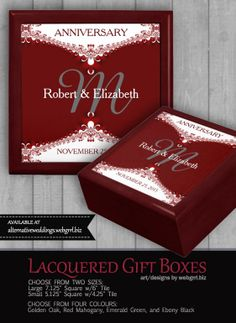 Shop Deep Red+White Lace Wedding Anniversary Gift Box created by AlternativeWeddings. Anniversary Dates, Wedding Anniversary Gifts, White Lace, Red And White, Engagement Presents, Wooden Gift Boxes, W 6, Alternative Wedding, Fractal Art