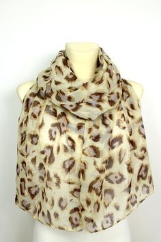 Leopard Print Scarf - Brown leopard Scarf - Animal Print Scarf - Leopard Fashion Scarf - Boho Women Accessories - Unique Gift Idea for her