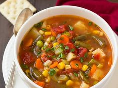 Smoked Sausage and Vegetable Soup - Cooking Classy Salmon Recipes, Chicken Recipes, Roasted Vegetables, Veggies, Vegan Vegetable Soup, Vegan Recipes, Cooking Recipes, Cooking Ideas, Spinach Salad