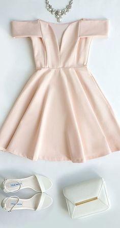 Short prom dress,Cute Off-the-Shoulder Homecoming Dress, Light Pink Prom Dress,V-Neck Evening Dress Dresses Short, Hoco Dresses, Junior Bridesmaid Dresses, Dance Dresses, Pretty Dresses, Homecoming Dresses, Beautiful Dresses, Evening Dresses, Formal Dresses