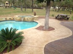 Ideas Stained Concrete Patio Colors Pool Decks For 2019 Colored Concrete Patio, Concrete Deck, Stained Concrete, Concrete Lamp, Decks Around Pools, Pool Decks, Pool Paving, Pool Landscaping, Patio Design