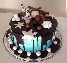 Liljan Lumo: Frozen Olaf -drip cake for Tomas Frozen Olaf -suklaaputouskakku syntymäpäiväjuhliin.