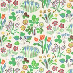 In this wallpaper, leaves and flowers are of the same scale as they would be in a bouquet. Many familiar spring flowers are shown in the print. - Wallpaper Vårklockor, Paper, Vårklockor, White, Josef Frank