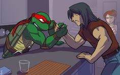 """Raph vs Casey...........April in background thinking......""""Really, you guys are actually trying to prove who's more manly? Wow, men are so stupid."""""""