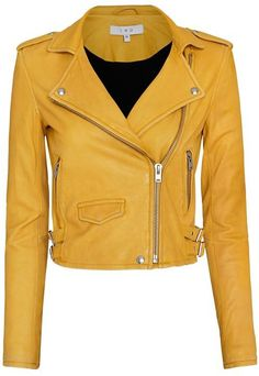 Hilary Duff makes a statement in yellow biker jacket and flared jeans Cropped Leather Jacket, Biker Leather, Leather Jackets, Real Leather, Moto Jacket, Cropped Jackets, Line Jackets, Jackets For Women, Women's Jackets