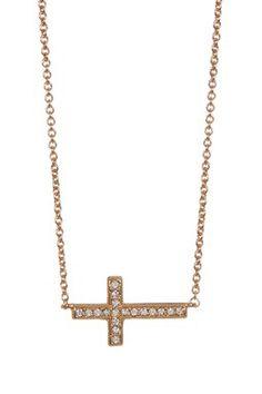 Pave Side Cross Pendant Necklace