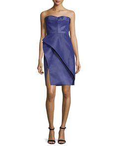 Bustier Structured-Skirt Dress, Violet