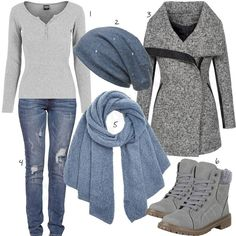 Hellgrau-Blaues Damenoutfit mit Mantel & Boots Chic ladies outfit with light gray sweater, warm wool coat and ankle boots, light blue Caspar beanie, Pieces scarf and Alice & Elmer destroyed jeans. Outfits Damen, Komplette Outfits, Jean Outfits, Outfits For Teens, Winter Outfits, Casual Outfits, Fashion Outfits, Womens Fashion, Fashion Clothes