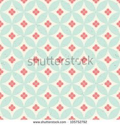 Seamless vintage pattern. Red and green pastel colors