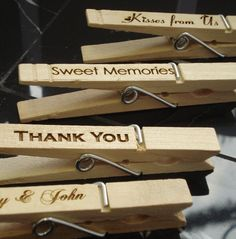 Clothespin Wedding Favors card holders