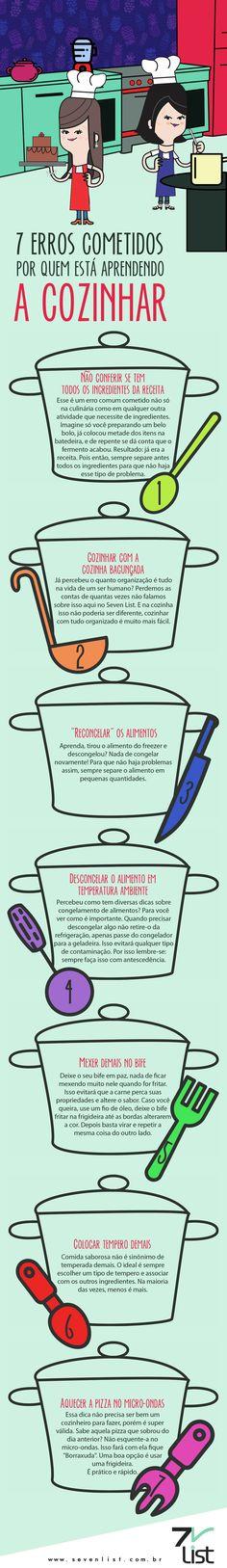 Você é do time que está tentando fugir do macarrão instantêneo e ovo frito? Então esse post é para você. Veja 7 erros cometidos por quem está aprendendo a cozinhar. #SevenList #Cook #Cooking #Cozinhar #culinária #Dicas #Comida #ALimentação