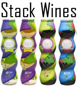 Stack Wines - for my wine-loving friends! Equal to a bottle of wine, already separated into four stemless wine glasses. Good for picnics, tailgates, etc.