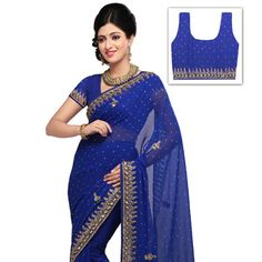 Royal Blue faux Chiffon Saree With Blouse Online Shopping: SRH89