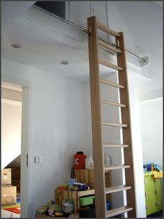 How to choose and buy a new and modern staircase – My Life Spot Library Ladder, Attic Ladder, Attic Stairs, Attic Rooms, Modern Staircase, Tiny House Living, Stairways, House Design, Ladders
