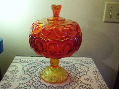 L E Smith Glass Moon and Stars Amberina 12 in Tall Compote and Lid | eBay $119.95