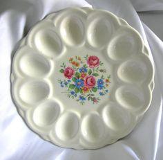 White Porcelain Ceramic Floral Motif Deviled by RetrofitGallery, $19.00