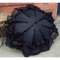 Goth Umbrella Neo Victorian Style Lace Trimmed Parasol Cosplay Elegant... ($6) ❤ liked on Polyvore featuring accessories, umbrellas, goth umbrella, victorian umbrella, lace umbrella and gothic umbrella