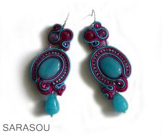 #Sarasou #Basic #soutache #soutacheembriodery #earrings #pink #blue #SS2015
