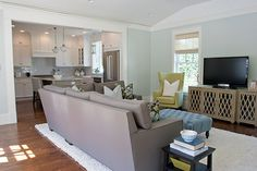 Family room in light blue with green and gray accents. Like the color combination, layout and floors of this room.