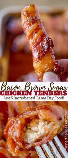 Bacon Brown Sugar Chicken Tenders with just five ingredients and 30 minutes thes. Bacon Brown Sugar Chicken Tenders with just five ingredients and 30 minutes these are the PERFECT gameday treat! A sticky, sweet, salty, crunchy appetizer. Bacon Recipes, Appetizer Recipes, New Recipes, Cooking Recipes, Favorite Recipes, Candy Recipes, Dessert Recipes, Meat Appetizers, Vegetarian Recipes