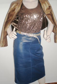 Vintage Skirt Navy Blue Butter Soft Leather Pencil by BagsnBling, $24.50