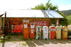 Route 66...all these gas pumps and not one drop available for sale!