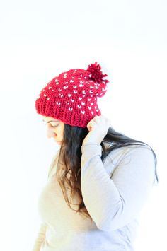 Fair Isle Knit Slouchy Hat Pom Pom / Winter Toque / Russet and Fisherman by daynightrose on Etsy