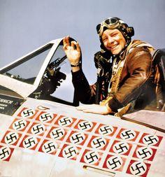 US fighter pilot Fred Christensen (1921-2006) in his P-47D Thunderbolt fighter…