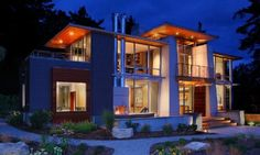 """Collect this idea Olympic View House is a contemporary 2,700 square-foot, two-story home designed by BC&J Architecture and located in Bainbridge Island, Washington State. Especially designed for a retired couple with academic careers, the residence features spacious and welcoming interiors, perfectly suited for relaxation. Here is more information on its structure from the architects: """"A …"""
