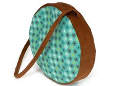 Drum bag turquoise and brown handmade unique cotton and by HiGirls