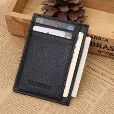 mens leather slim wallet money clip id credit card holder coin pocket us stock - Mens Money Clip Credit Card Holder