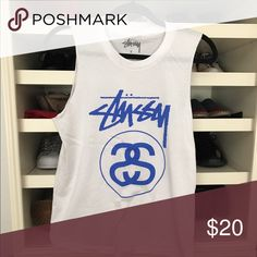 Stussy Tanktop White plain tank with front design. Worn once. Stussy Tops Tank Tops