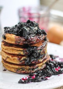 Fluffy Coconut Flour Pancakes with Wild Blueberry Maple Syrup | Ambitious Kitchen