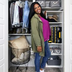 Ready to tackle a DIY closet overhaul? @handmadehavenn used our Style+ hanging tower to create the closet of her dreams. Shop Style+  at @homedepot.  #HomeDepot #ClosetMaid #ClosetOrganization #ClosetGoals Bedroom Closets, Closet Organization, Home Depot, Bomber Jacket, Tower, Dreams, Diy, Shopping, Style