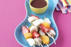 Fruit kebabs with chocolate dipping sauce