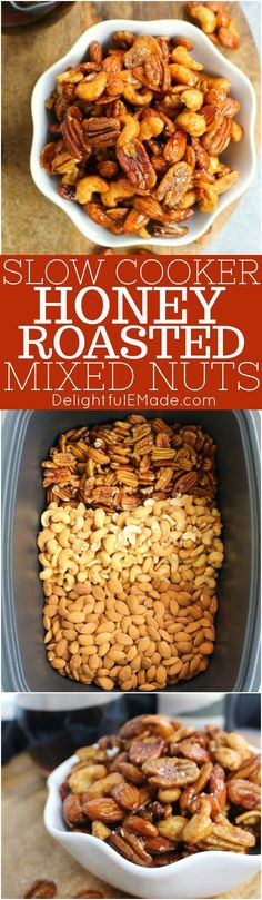 These Slow Cooker Honey Roasted Mixed Nuts are the perfect snack for your next wine night! Fabulous with your favorite ALDI wine, and super simple to make. #ad #mixednuts #slowcooker #ALDILove