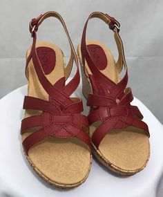 7d2d0023f6a Women s B.O.C. Born Concept Wedge Sandals Cates BC5722 Red Size 9 New   fashion  clothing