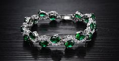18K Gold Plated 5.4ct Created Emerald & Diamond Accent Bracelet