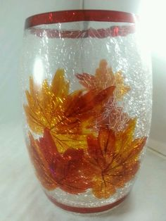 Fall Crackle Glass Candle Votive Tea Light Holder Leaves in Home & Garden, Home Décor, Candle Holders & Accessories | eBay