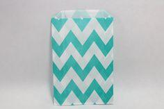 12 Teal Aqua Chevron paper goodie bags by TheShindiggityShoppe