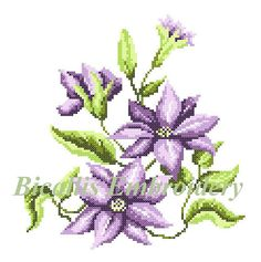 Machine embroidery Clematis Cross stitch Clematis Purple