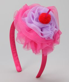 I could make this! Take a look at this Hot Pink Ruffle Cupcake Headband by Head over Heels on #zulily today!