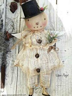 Primitive Snowman Doll Pattern Snowangel Angel Patterns Snowgirl Cloth Fabric Folk Art Winter Christmas Kim Kohler Veenas Mercantile - pinned by pin4etsy.com