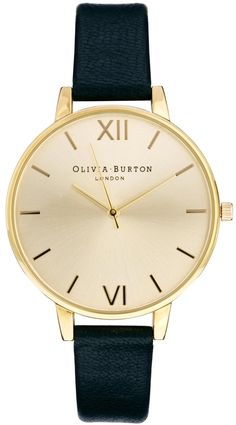 €130, Reloj de Cuero Negro y Dorado de Burton. De Asos. Detalles: https://lookastic.com/women/shop_items/327953/redirect