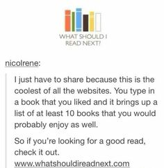 I put in one of my favorite books and it gave me books it thought I . I put in one of my favorite books and it gave me books it thought I would like and I already read some on the list and loved them. Books And Tea, I Love Books, Good Books, Books To Read, My Books, Reading Lists, Book Lists, Bubbline, Book Fandoms