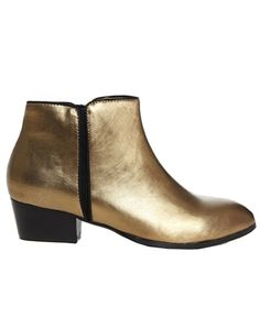 Metallic Gold Ankle Boots